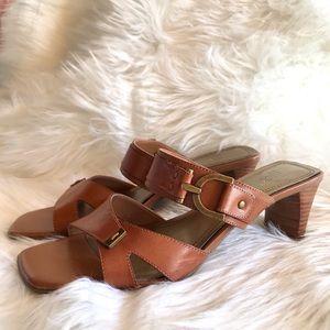 Nickels Kerra Leather Upper Gold Buckle Mules